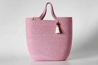 Kabelky - Provazová kabelka růžová - 13360601_