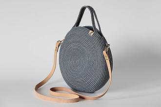 Kabelky - Provazová kabelka kulatá šedomodrá - 13360603_