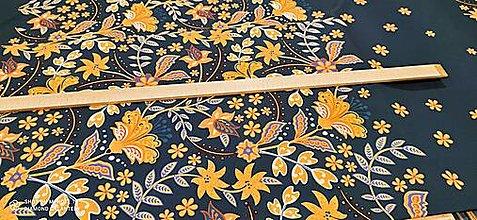 Textil - Kostýmovka - Kvety na tmavo modrom- cena za 10 cm - 13362737_