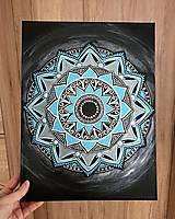 Obrazy - Modrá mandala s perličkami - 13361970_