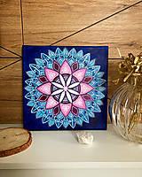 Obrazy - Ružovo modrá mandala pre jemnú dušu - 13362025_