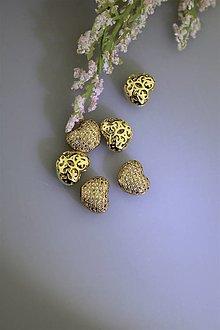 Komponenty - srdiečko zlaté ozdobné - 13363671_