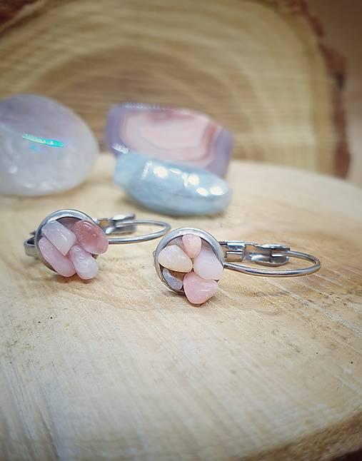 Náušnice ružový opál