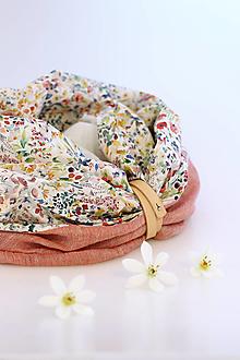 """Šatky - Elegantný dámsky trojfarebný nákrčník z ľanu a kvetinovej bavlny """"Akvarel"""" - 13360443_"""