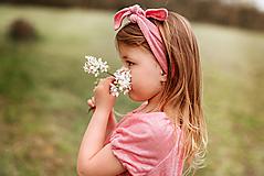 Detské doplnky - čelenka 100% ĽAN pink - 13361032_