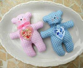 Darčeky pre svadobčanov - Textilný medvedík, 16 cm - 13363297_