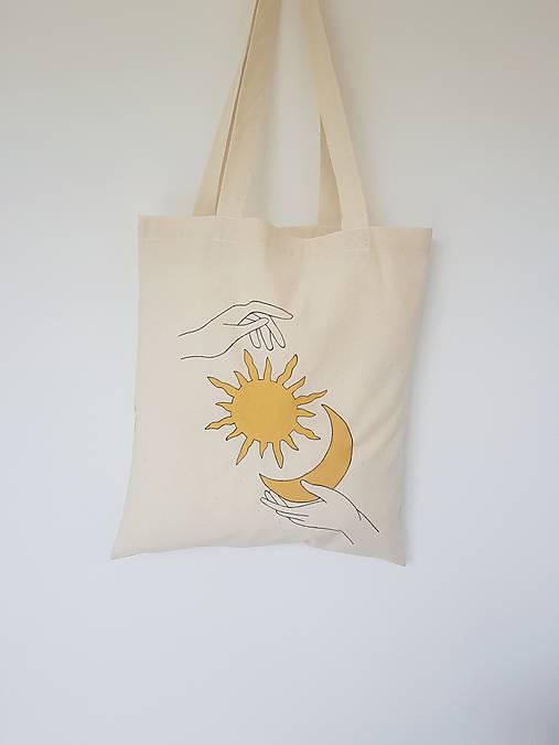 •ručne maľovaná plátená taška - Sun & Moon•