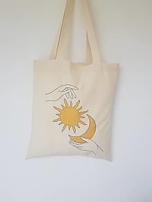 Nákupné tašky - •ručne maľovaná plátená taška - Sun & Moon• - 13361892_