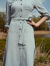 Šaty - Mušelínové šaty šedé - 13362465_