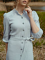 Šaty - Mušelínové šaty šedé - 13362466_