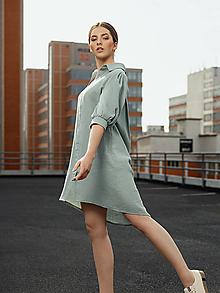 Šaty - Mušelínové šaty zelené - 13362800_