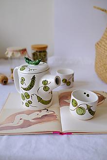 Nádoby - Čajníková sada z kolekcie Majolika (Hrášok) - 13363557_