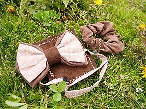 Doplnky - Set motýlik, vreckovka a gumička pre pár - 13363469_