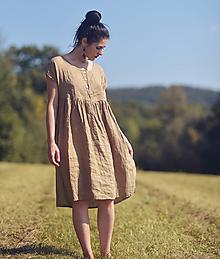 Šaty - Lněné šaty se zapínáním Oříškově hnědé - 13363610_