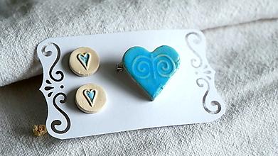 Sady šperkov - keramická sada č.391_ modré srdcia - 13364656_