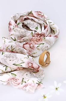 """Šatky - Romantická jemná ľanová šatka s kvetinovou potlačou """"Peony"""" - 13364124_"""