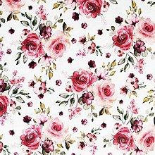 Textil - ružové ružičky, 100 % predzrážaná bavlna Španielsko, digitálna tlač, šírka 150 cm - 13364267_