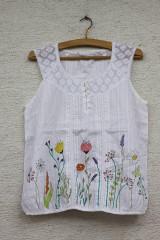 Topy - Letný bavlnený ručne maľovaný top LÚKA veľkosť 44 - 13365127_