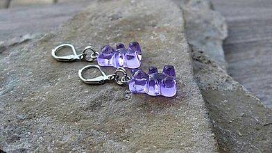 Detské doplnky - Náušnice dievčenské gumení medvedíkovia (fialové, č. 3375) - 13365732_