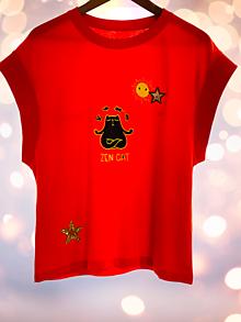 Tričká - Vyšívané dámske bavlnené tričko, Horns originál. - 13367381_