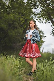 Sukne - červená suknička na gumičku - 13365998_