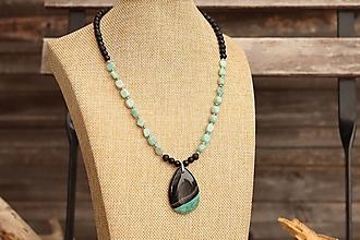 Náhrdelníky - Náhrdelník z minerálov obsidián, láva, onyx, amazonit, achát - 13363965_