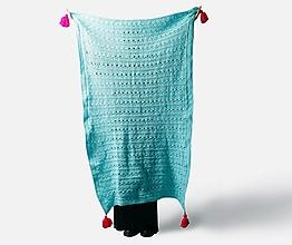 Úžitkový textil - Deka tyrkysová ručne háčkovaná - 13369935_