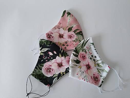 VÝPREDAJ dámske dizajnové rúško prémiová bavlna antibakteriálne s časticami striebra dvojvrstvové tvarované