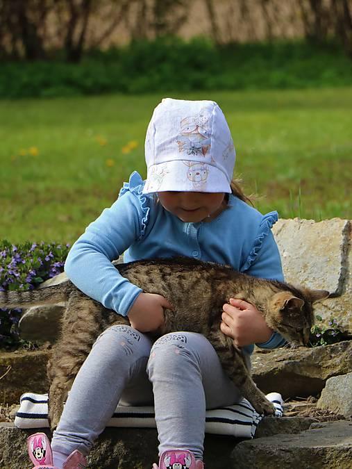 Detský ľanový čepček lesné zvieratká