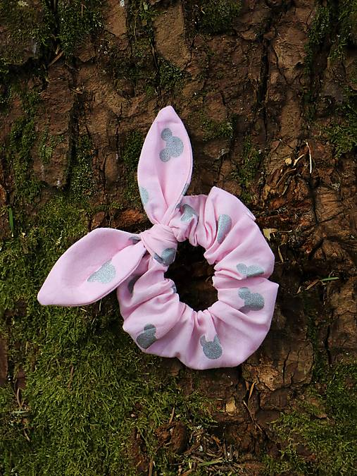 Scrunchies ušatá hlávky ružová