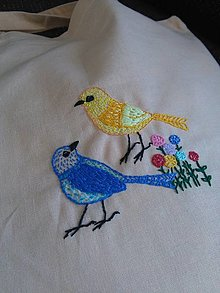Nákupné tašky - Vtáčí spev (ručne vyšívaná taška/nákupka) - 13368336_