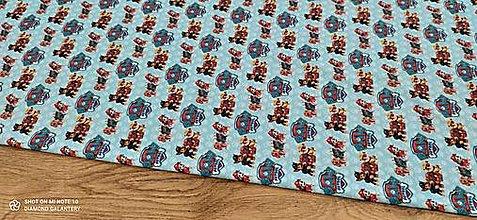 Textil - Teplákovina - Digitálna potlač - Labkova patrola modrý podklad- cena za 10 centimetrov - 13368031_