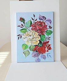 Obrazy - Obraz: Ruže, acryl, 30 x 40 cm - 13368503_