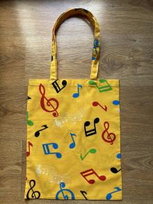 Nákupné tašky - Taška cez plece - hudba žltá - 13369396_