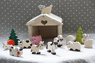 Hračky - Drevené hračky. Farma so zvieratkami - skladačka - 13368221_