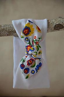 Detské čiapky - Detská čelenka (Biela, folk 34-42 cm,šírka 8 cm) - 13368664_
