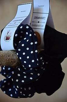 """Drobnosti - """"Scrunchie"""" látková gumička do vlasov (Modrá) - 13368751_"""