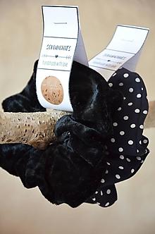 """Drobnosti - """"Scrunchie"""" látková gumička do vlasov (Čierna,polyester) - 13368781_"""