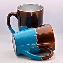 Nádoby - Čokoládovo tyrkysový - hrnček na čaj/kávu - 13368836_