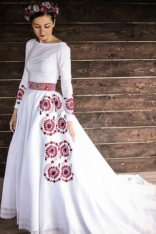 vyšívaná svadobná sukňa Očovianka