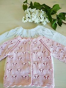 Detské oblečenie - Svetrík s motýľmi + čelenka s ružou grátis - 13368575_