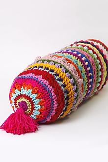 """Úžitkový textil - Vankúš oválny háčkovaný farebný """"terapeut"""" - 13371943_"""