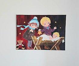 Obrazy - Ježiško sa narodil, akryl, 70x50 cm - 13371051_