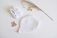 Detské čiapky - Klobúčik pre bábätko (Biela) - 13371357_