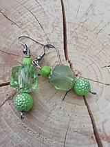 Náušnice - Trblietavé náušničky zelené - 13371778_