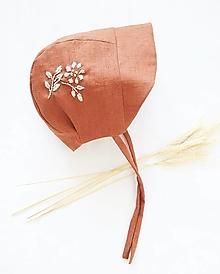 Detské čiapky - Ľanový čepček - RUST FLOWER - 13370364_