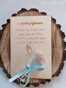 Papiernictvo - Drevena pohľadnica k 1. Svätému prijímaniu typ2 - 13370166_