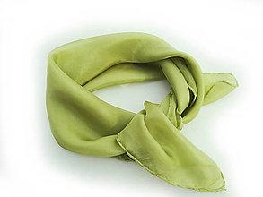 """Šatky - """"olive green"""" hodvábná šatka 55x55cm SKLADOM:-) - 13371336_"""