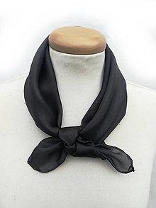 """Šatky - """"black""""  hodvábná šatka 55x55cm SKLADOM:-) - 13371349_"""