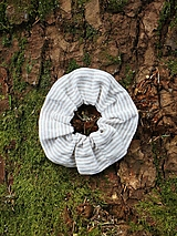 Scrunchies ľanová gumička pásik béžový